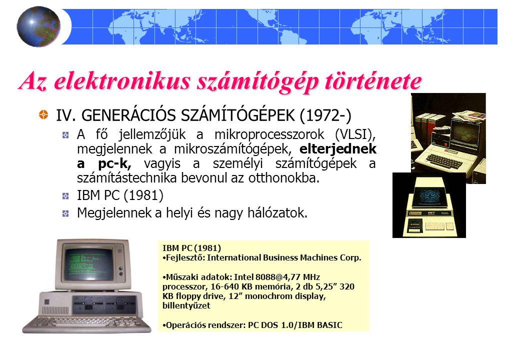 Az elektronikus számítógép története IV. GENERÁCIÓS SZÁMÍTÓGÉPEK (1972-) A fő jellemzőjük a mikroprocesszorok (VLSI), megjelennek a mikroszámítógépek,