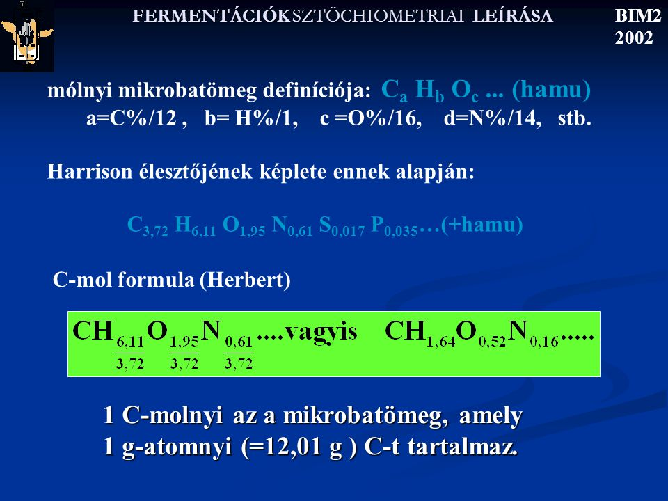 FERMENTÁCIÓK SZTÖCHIOMETRIAI LEÍRÁSA BIM2 2002 C-energiaforrás  S y C Y X/S (g/g) Alkánok metán 8(1,9)11,63 hexán6,3(1,5)11;82 hexadekán 6,1(1,5)11,84 Alkoholok metanol6,0(1,4)10,81 etanol6,0(1,4)11,13 glicerin4,7(1,1)10,84 Szénhidrátok formaldehid4,00,950,80 glükóz4,00,950,80 szacharóz4,00,950,85 keményítö4,00,950,90 cellulóz4,00,950,90 Szerves savak ecetsav4,0 0,950,8 tejsav4,00,90,8 fumársav3,00,70,6 oxá1sav1,0 0,250,1