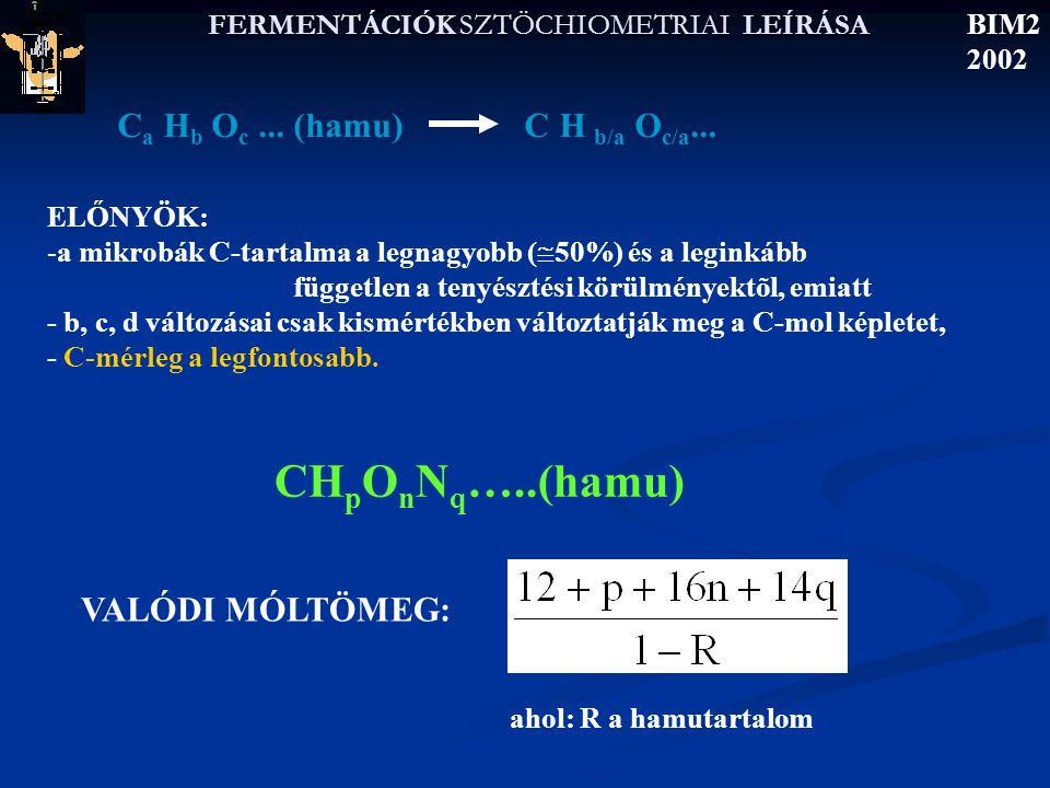 FERMENTÁCIÓK SZTÖCHIOMETRIAI LEÍRÁSA BIM2 2002 Általános szöhiometriai leírás CH m O l + a NH 3 + b O 2  →y c CH p O n N q + z CH r O s N t + d CO 2 + c H 2 O AEROB + 1 TERMÉK +CO 2 ------ legegyszerűbb eset C 6 H 12 O 6 CH 2 O C 2 H 5 OH CH 3 O 0,5 CH 3 OH CH 4 O 14 paraméter 8 ismert