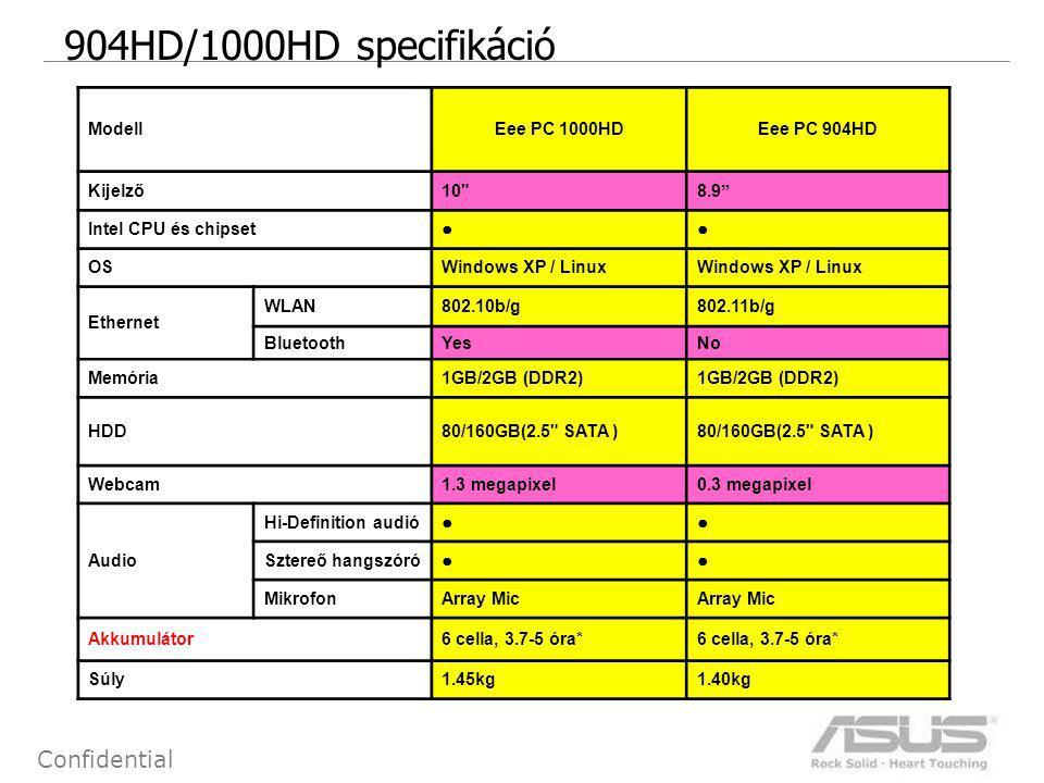4 Confidential 904HD/1000HD specifikáció ModellEee PC 1000HDEee PC 904HD Kijelző10 8.9 Intel CPU és chipset ●● OSWindows XP / Linux Ethernet WLAN802.10b/g802.11b/g BluetoothYesNo Memória1GB/2GB (DDR2) HDD80/160GB(2.5 SATA ) Webcam1.3 megapixel0.3 megapixel Audio Hi-Definition audió ●● Sztereő hangszóró ●● MikrofonArray Mic Akkumulátor6 cella, 3.7-5 óra* Súly1.45kg1.40kg