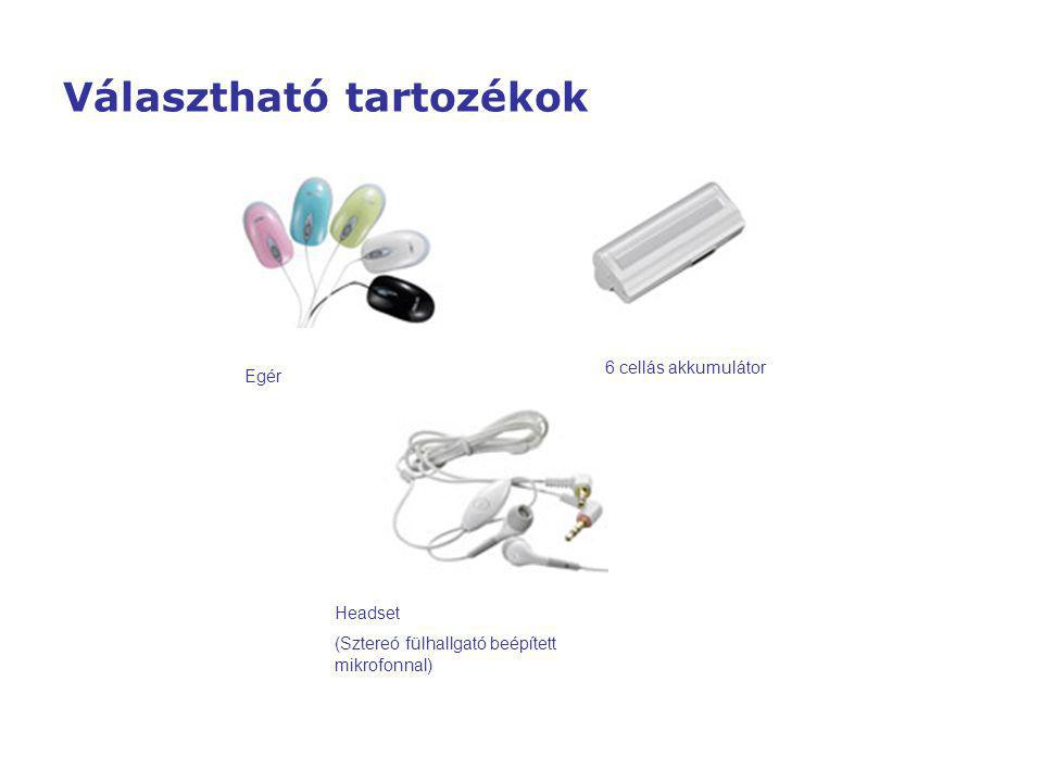 Egér 6 cellás akkumulátor Headset (Sztereó fülhallgató beépített mikrofonnal) Választható tartozékok
