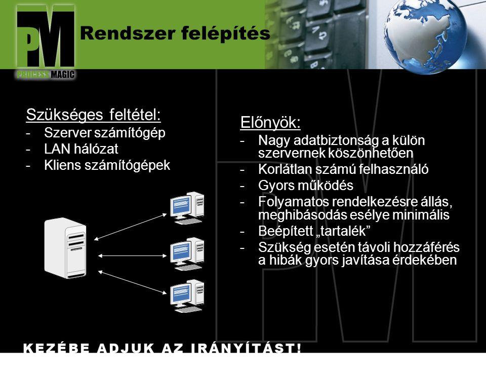"""Rendszer felépítés Előnyök: -Nagy adatbiztonság a külön szervernek köszönhetően -Korlátlan számú felhasználó -Gyors működés -Folyamatos rendelkezésre állás, meghibásodás esélye minimális -Beépített """"tartalék -Szükség esetén távoli hozzáférés a hibák gyors javítása érdekében Szükséges feltétel: -Szerver számítógép -LAN hálózat -Kliens számítógépek"""