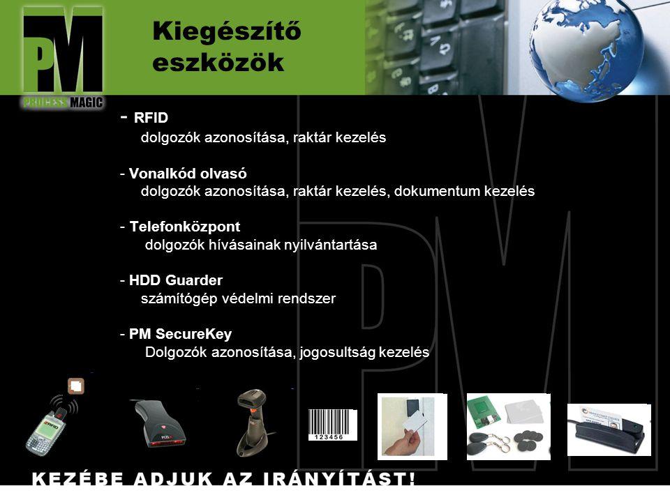 Kiegészítő eszközök - RFID dolgozók azonosítása, raktár kezelés - Vonalkód olvasó dolgozók azonosítása, raktár kezelés, dokumentum kezelés - Telefonközpont dolgozók hívásainak nyilvántartása - HDD Guarder számítógép védelmi rendszer - PM SecureKey Dolgozók azonosítása, jogosultság kezelés