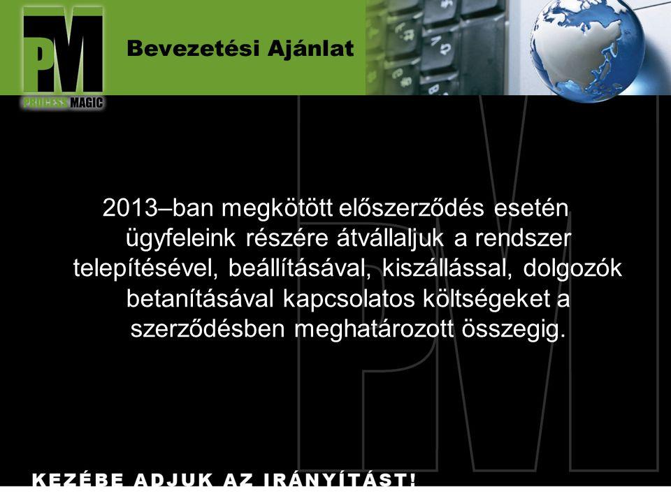 Bevezetési Ajánlat 2013–ban megkötött előszerződés esetén ügyfeleink részére átvállaljuk a rendszer telepítésével, beállításával, kiszállással, dolgoz