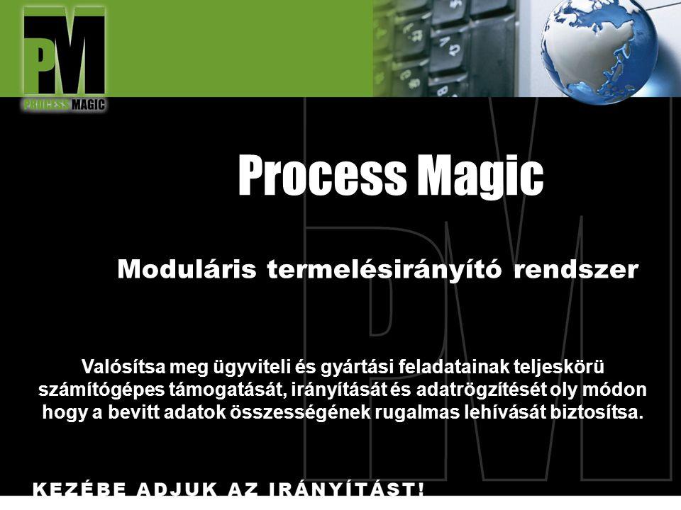 Process Magic Moduláris termelésirányító rendszer Valósítsa meg ügyviteli és gyártási feladatainak teljeskörü számítógépes támogatását, irányítását és adatrögzítését oly módon hogy a bevitt adatok összességének rugalmas lehívását biztosítsa.