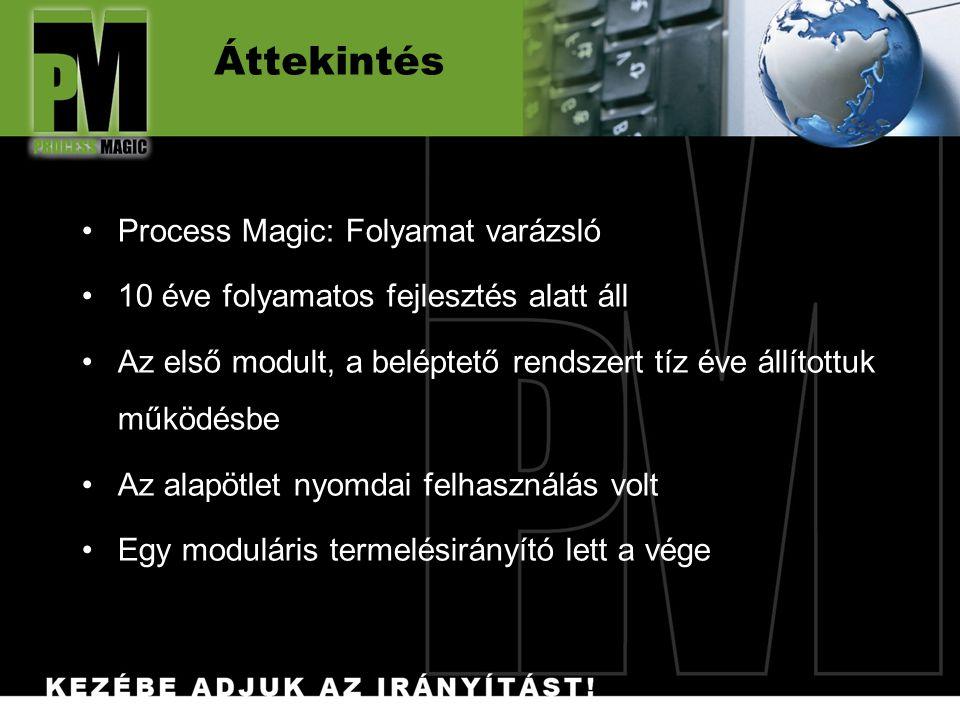 Áttekintés Process Magic: Folyamat varázsló 10 éve folyamatos fejlesztés alatt áll Az első modult, a beléptető rendszert tíz éve állítottuk működésbe Az alapötlet nyomdai felhasználás volt Egy moduláris termelésirányító lett a vége