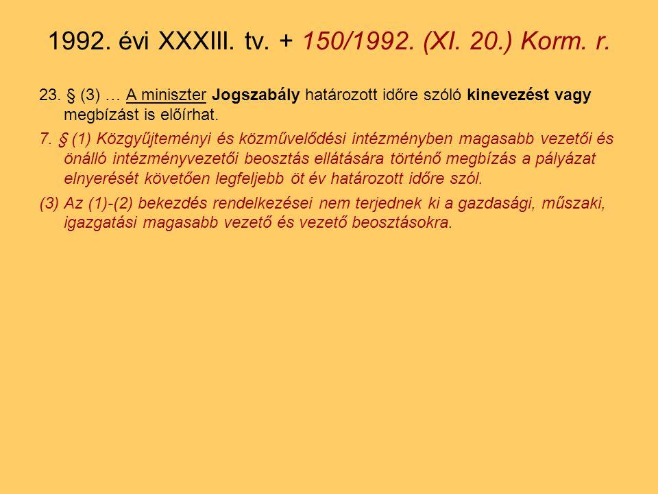 23.§ (3) … A miniszter Jogszabály határozott időre szóló kinevezést vagy megbízást is előírhat.