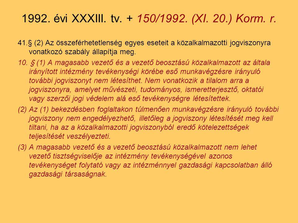 41.§ (2) Az összeférhetetlenség egyes eseteit a közalkalmazotti jogviszonyra vonatkozó szabály állapítja meg.