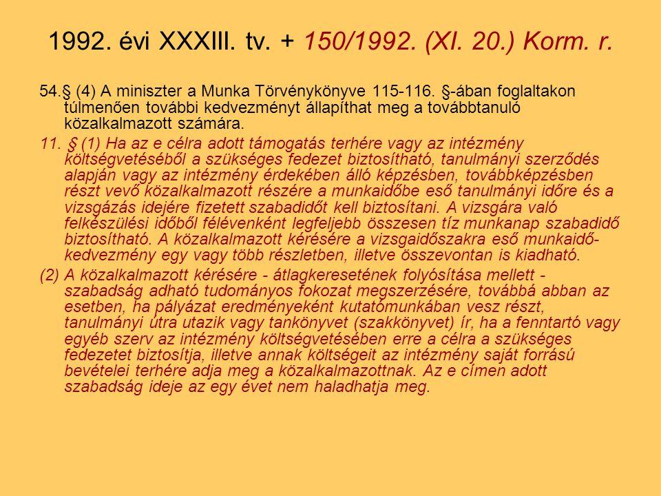 54.§ (4) A miniszter a Munka Törvénykönyve 115-116.