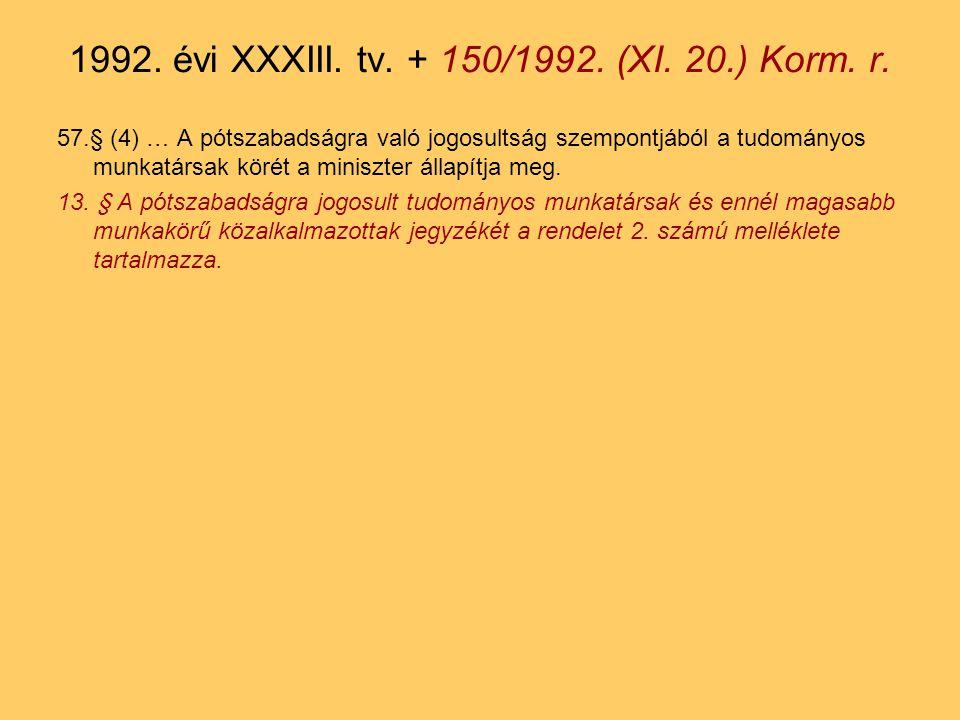 57.§ (4) … A pótszabadságra való jogosultság szempontjából a tudományos munkatársak körét a miniszter állapítja meg.