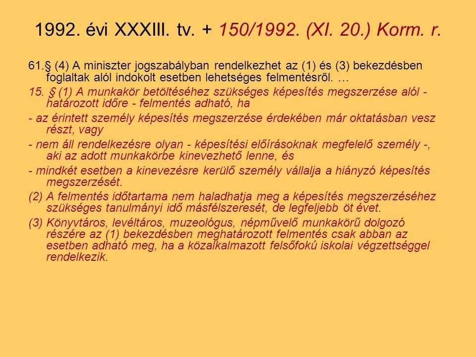 61.§ (4) A miniszter jogszabályban rendelkezhet az (1) és (3) bekezdésben foglaltak alól indokolt esetben lehetséges felmentésről.