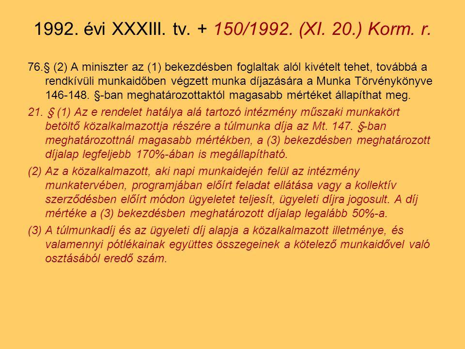 76.§ (2) A miniszter az (1) bekezdésben foglaltak alól kivételt tehet, továbbá a rendkívüli munkaidőben végzett munka díjazására a Munka Törvénykönyve 146-148.