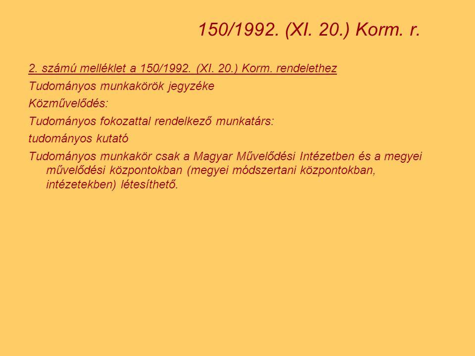 2.számú melléklet a 150/1992. (XI. 20.) Korm.
