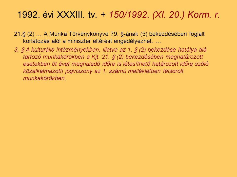 21.§ (2) … A Munka Törvénykönyve 79.