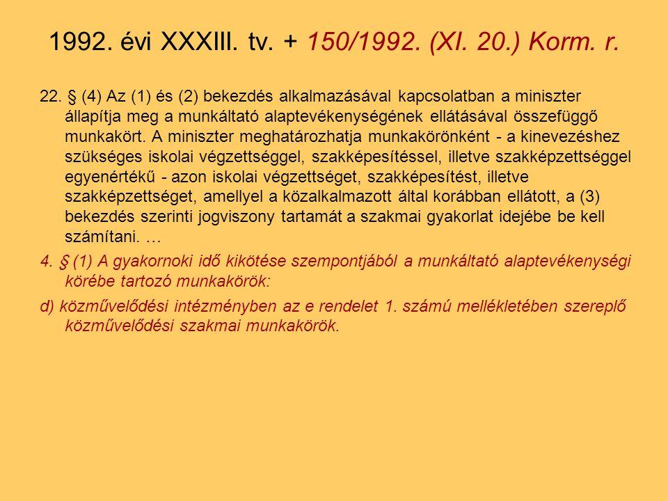 22.§ (5) b) … A miniszter meghatározhatja azokat a munkaköröket, ahol - az egyenértékű követelményrendszer, vizsga, illetőleg továbbképzések miatt - nem kell gyakornoki időt kikötni.