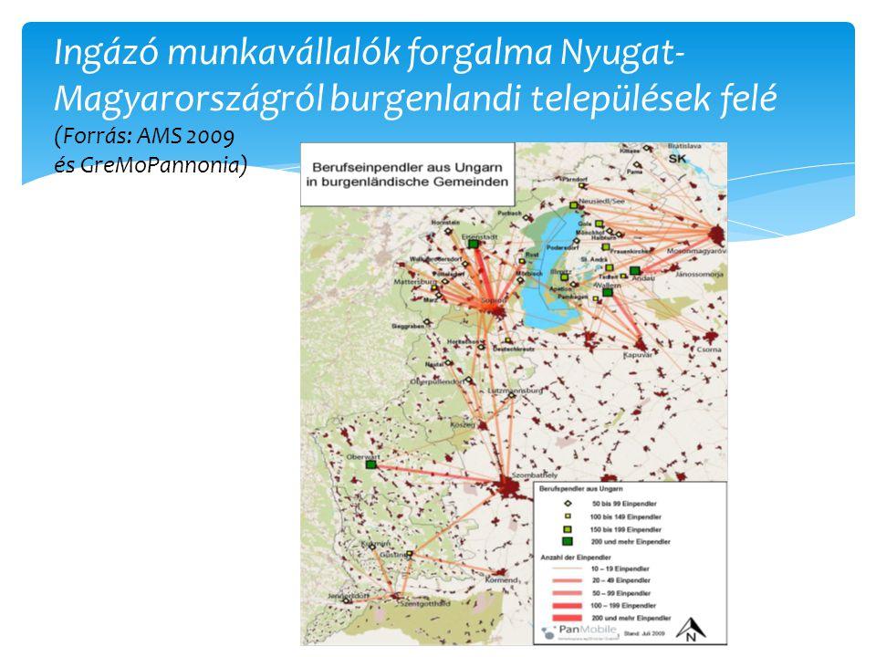 Ingázó munkavállalók forgalma Nyugat- Magyarországról burgenlandi települések felé (Forrás: AMS 2009 és GreMoPannonia)