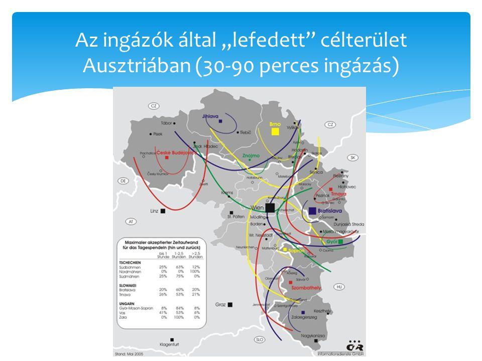 """Az ingázók által """"lefedett"""" célterület Ausztriában (30-90 perces ingázás)"""
