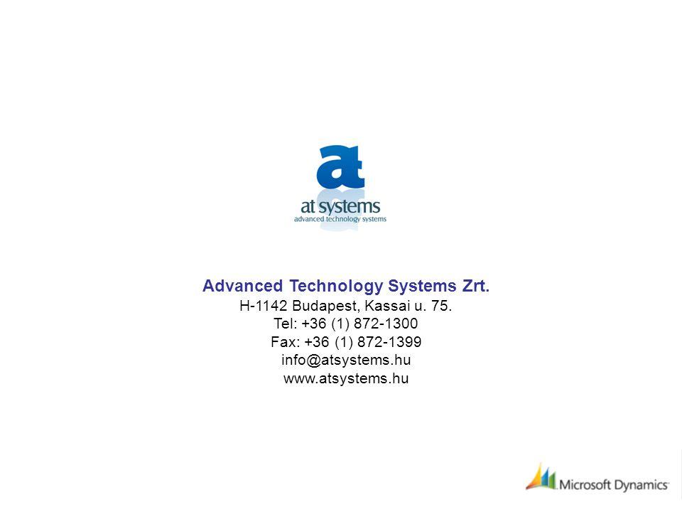 Advanced Technology Systems Zrt. H-1142 Budapest, Kassai u.