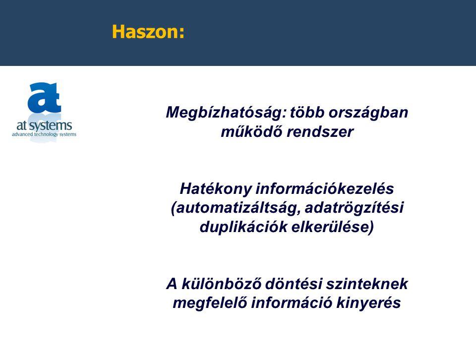 Haszon: Megbízhatóság: több országban működő rendszer Hatékony információkezelés (automatizáltság, adatrögzítési duplikációk elkerülése) A különböző döntési szinteknek megfelelő információ kinyerés