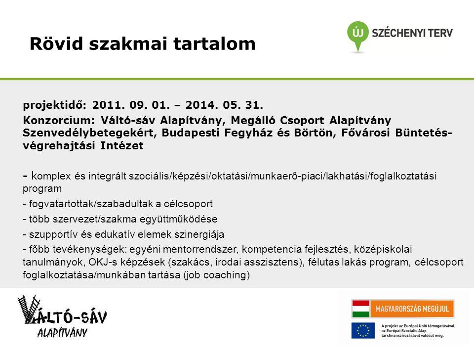 Rövid szakmai tartalom projektidő: 2011. 09. 01.