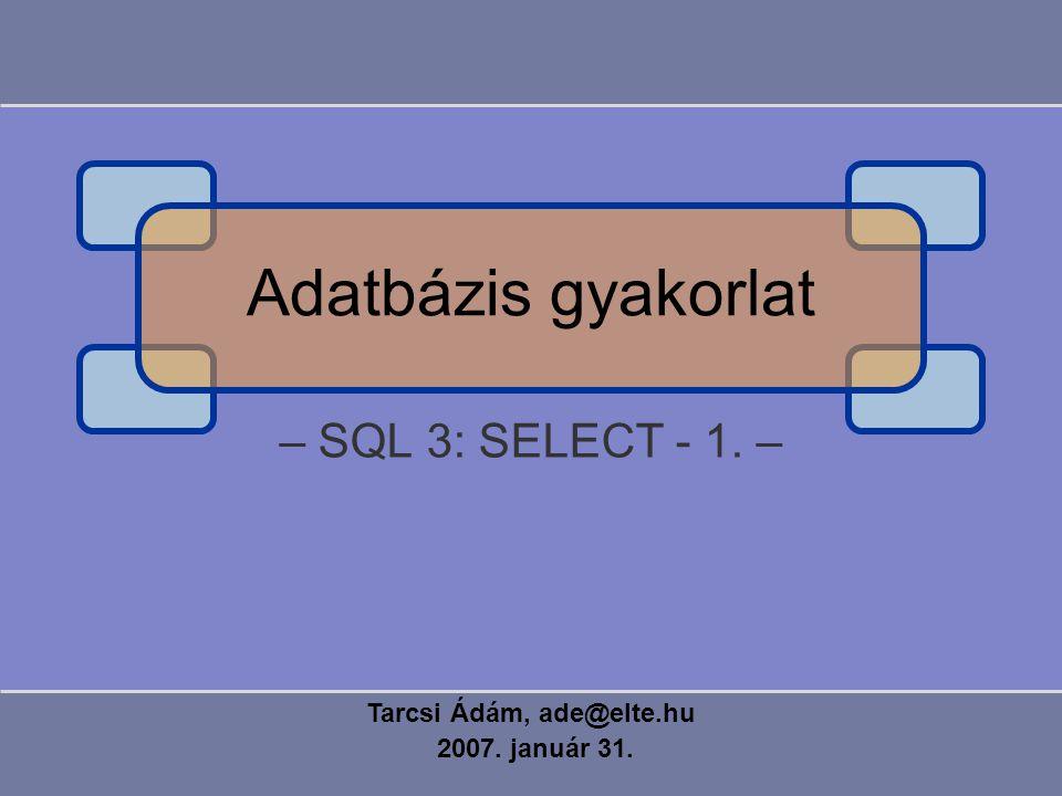 – SQL 3: SELECT - 1. – Tarcsi Ádám, ade@elte.hu 2007. január 31. Adatbázis gyakorlat