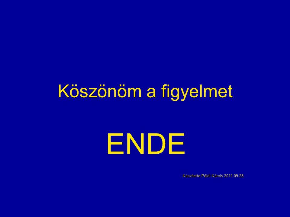 Köszönöm a figyelmet ENDE Készítette:Páldi Károly 2011.09.28.