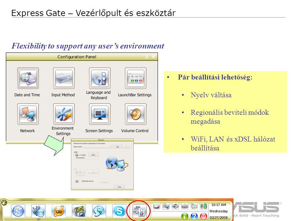 10 Confidential Express Gate – Vezérlőpult és eszköztár Pár beállítási lehetőség: Nyelv váltása Regionális beviteli módok megadása WiFi, LAN és xDSL hálózat beállítása Flexibility to support any user's environment