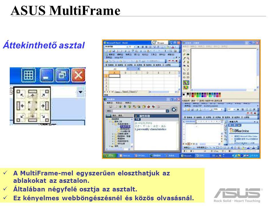 51 Confidential ASUS MultiFrame Áttekinthető asztal A MultiFrame-mel egyszerűen eloszthatjuk az ablakokat az asztalon.