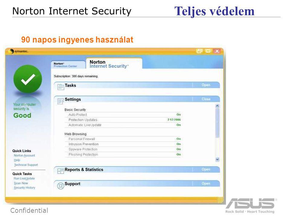 69 Confidential Norton Internet Security Teljes védelem 90 napos ingyenes használat