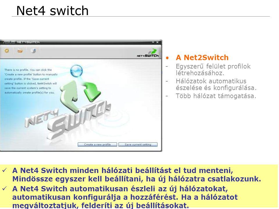 76 Confidential Net4 switch A Net2Switch -Egyszerű felület profilok létrehozásához.