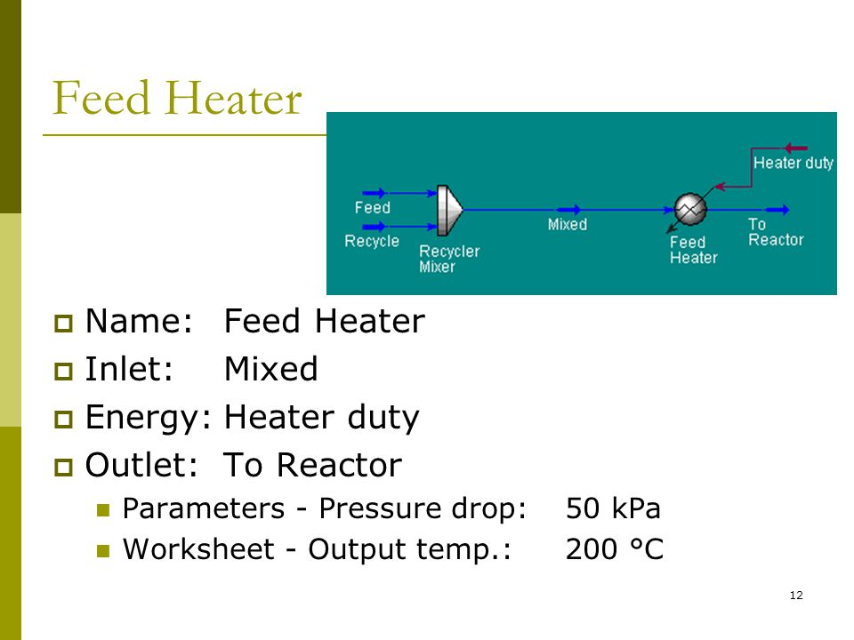 Feed Heater  Name:Feed Heater  Inlet:Mixed  Energy:Heater duty  Outlet:To Reactor Parameters - Pressure drop:50 kPa Worksheet - Output temp.:200 °