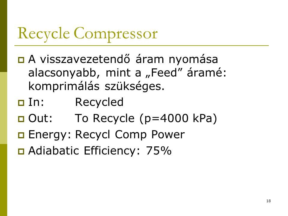 """Recycle Compressor  A visszavezetendő áram nyomása alacsonyabb, mint a """"Feed"""" áramé: komprimálás szükséges.  In:Recycled  Out:To Recycle (p=4000 kP"""
