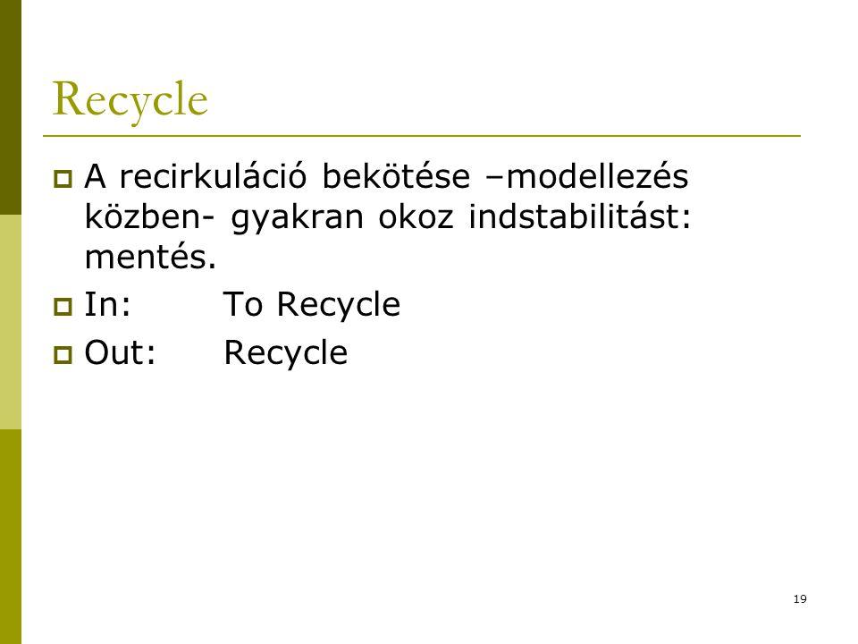 Recycle  A recirkuláció bekötése –modellezés közben- gyakran okoz indstabilitást: mentés.  In:To Recycle  Out:Recycle 19