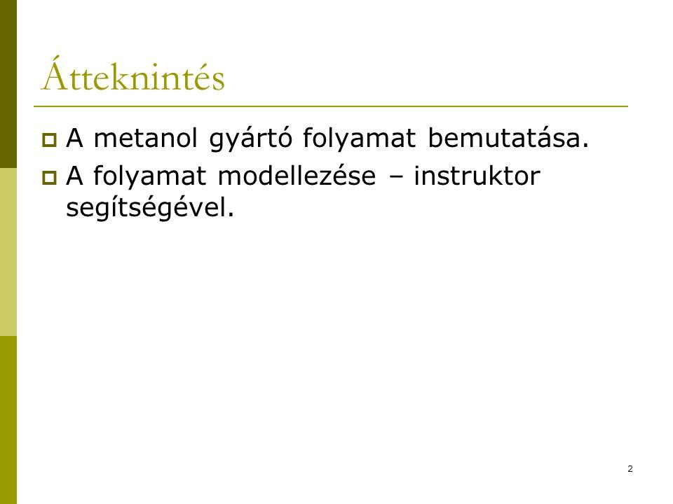 Átteknintés  A metanol gyártó folyamat bemutatása.  A folyamat modellezése – instruktor segítségével. 2