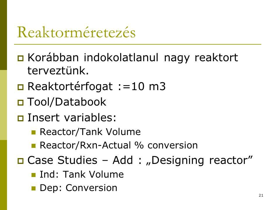 Reaktorméretezés  Korábban indokolatlanul nagy reaktort terveztünk.  Reaktortérfogat :=10 m3  Tool/Databook  Insert variables: Reactor/Tank Volume