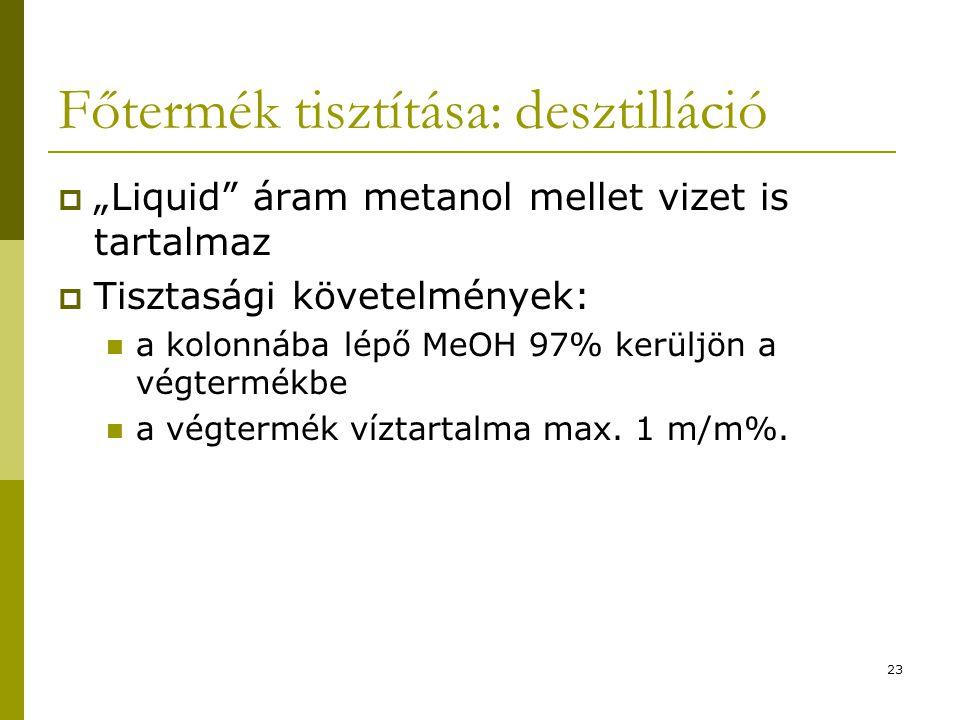 """Főtermék tisztítása: desztilláció  """"Liquid"""" áram metanol mellet vizet is tartalmaz  Tisztasági követelmények: a kolonnába lépő MeOH 97% kerüljön a v"""
