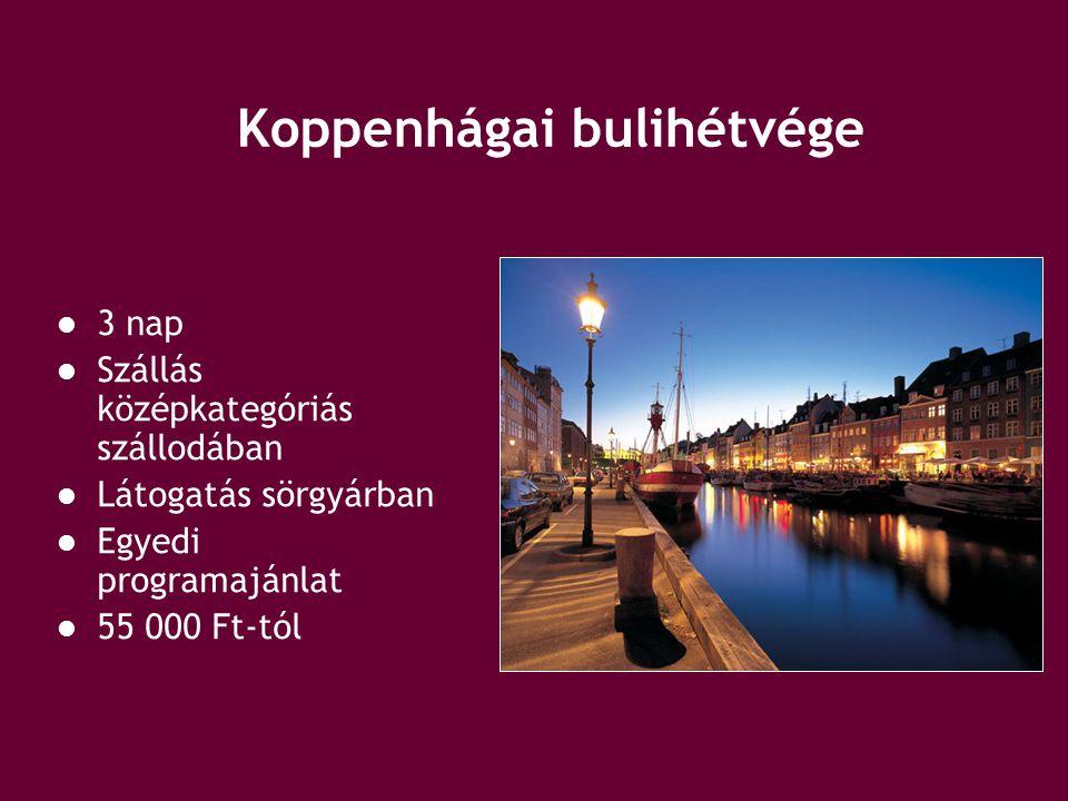 Koppenhágai bulihétvége 3 nap Szállás középkategóriás szállodában Látogatás sörgyárban Egyedi programajánlat 55 000 Ft-tól