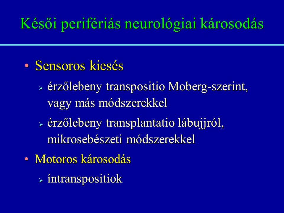 Késői perifériás neurológiai károsodás Sensoros kiesésSensoros kiesés  érzőlebeny transpositio Moberg-szerint, vagy más módszerekkel  érzőlebeny transplantatio lábujjról, mikrosebészeti módszerekkel Motoros károsodásMotoros károsodás  íntranspositiok