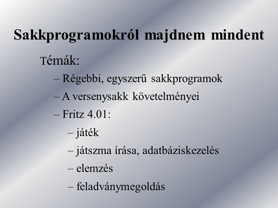 Sakkprogramokról majdnem mindent T émák: – Régebbi, egyszerű sakkprogramok – A versenysakk követelményei – Fritz 4.01: – játék – játszma írása, adatbá