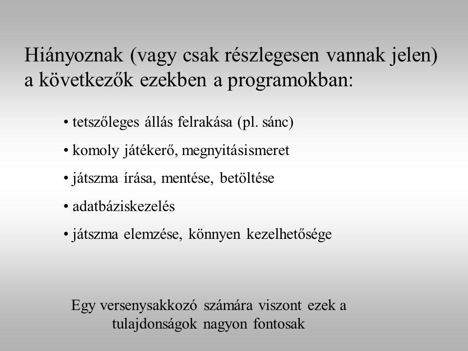 Hiányoznak (vagy csak részlegesen vannak jelen) a következők ezekben a programokban: tetszőleges állás felrakása (pl. sánc) komoly játékerő, megnyitás