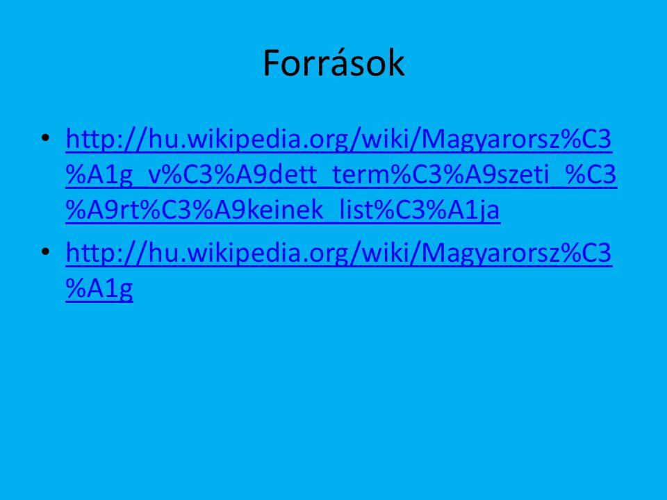 Források http://hu.wikipedia.org/wiki/Magyarorsz%C3 %A1g_v%C3%A9dett_term%C3%A9szeti_%C3 %A9rt%C3%A9keinek_list%C3%A1ja http://hu.wikipedia.org/wiki/Magyarorsz%C3 %A1g_v%C3%A9dett_term%C3%A9szeti_%C3 %A9rt%C3%A9keinek_list%C3%A1ja http://hu.wikipedia.org/wiki/Magyarorsz%C3 %A1g http://hu.wikipedia.org/wiki/Magyarorsz%C3 %A1g