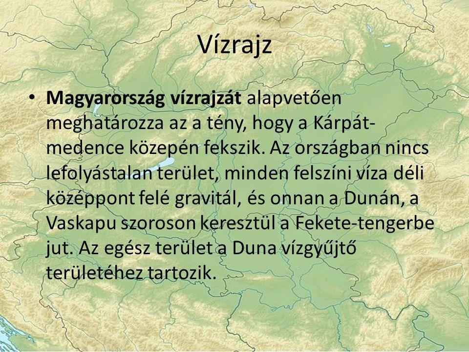 Vízrajz Magyarország vízrajzát alapvetően meghatározza az a tény, hogy a Kárpát- medence közepén fekszik.