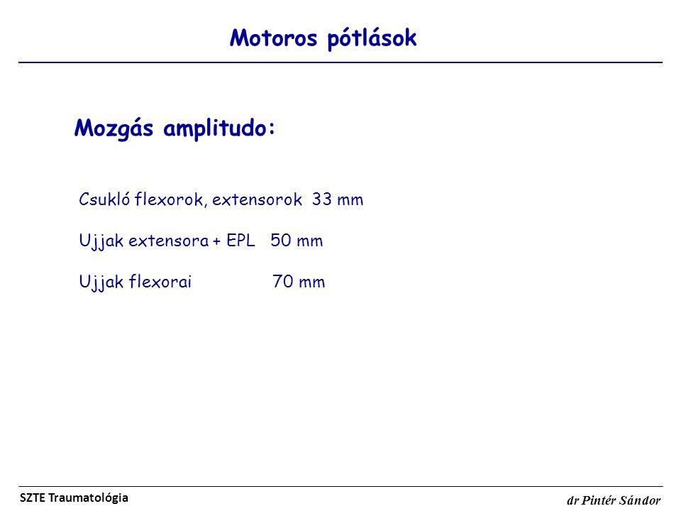Motoros pótlások SZTE Traumatológia dr Pintér Sándor Mozgás amplitudo: Csukló flexorok, extensorok 33 mm Ujjak extensora + EPL 50 mm Ujjak flexorai 70