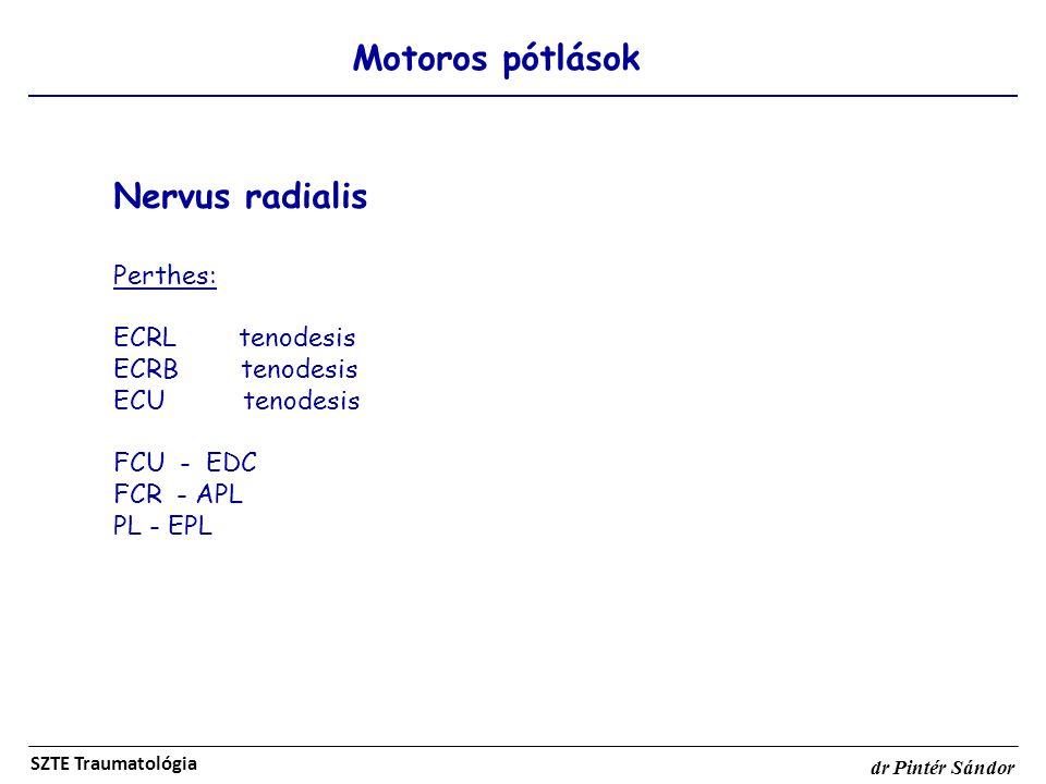 Motoros pótlások SZTE Traumatológia dr Pintér Sándor Nervus radialis Perthes: ECRL tenodesis ECRB tenodesis ECU tenodesis FCU - EDC FCR - APL PL - EPL