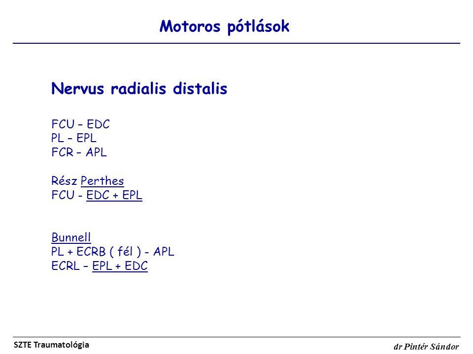 Motoros pótlások SZTE Traumatológia dr Pintér Sándor Nervus radialis distalis FCU – EDC PL – EPL FCR – APL Rész Perthes FCU - EDC + EPL Bunnell PL + E
