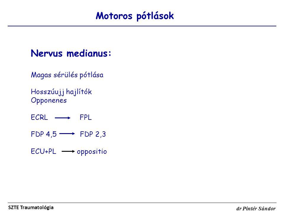 Motoros pótlások SZTE Traumatológia dr Pintér Sándor Nervus medianus: Magas sérülés pótlása Hosszúujj hajlítók Opponenes ECRL FPL FDP 4,5 FDP 2,3 ECU+