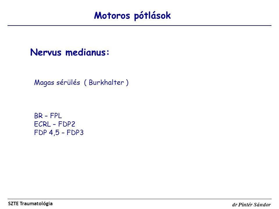Motoros pótlások SZTE Traumatológia dr Pintér Sándor Nervus medianus: Magas sérülés ( Burkhalter ) BR – FPL ECRL – FDP2 FDP 4,5 – FDP3