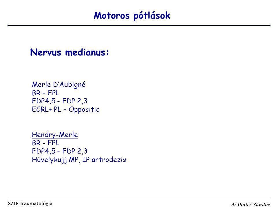 Motoros pótlások SZTE Traumatológia dr Pintér Sándor Nervus medianus: Merle D'Aubigné BR – FPL FDP4,5 - FDP 2,3 ECRL+ PL – Oppositio Hendry-Merle BR -
