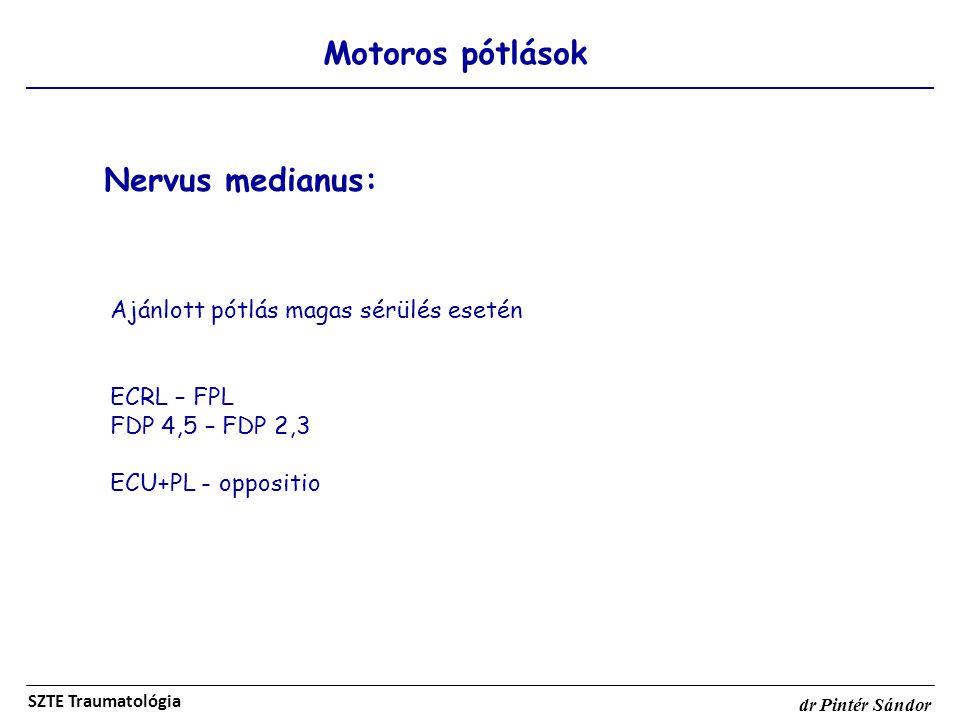 Motoros pótlások SZTE Traumatológia dr Pintér Sándor Nervus medianus: Ajánlott pótlás magas sérülés esetén ECRL – FPL FDP 4,5 – FDP 2,3 ECU+PL - oppos