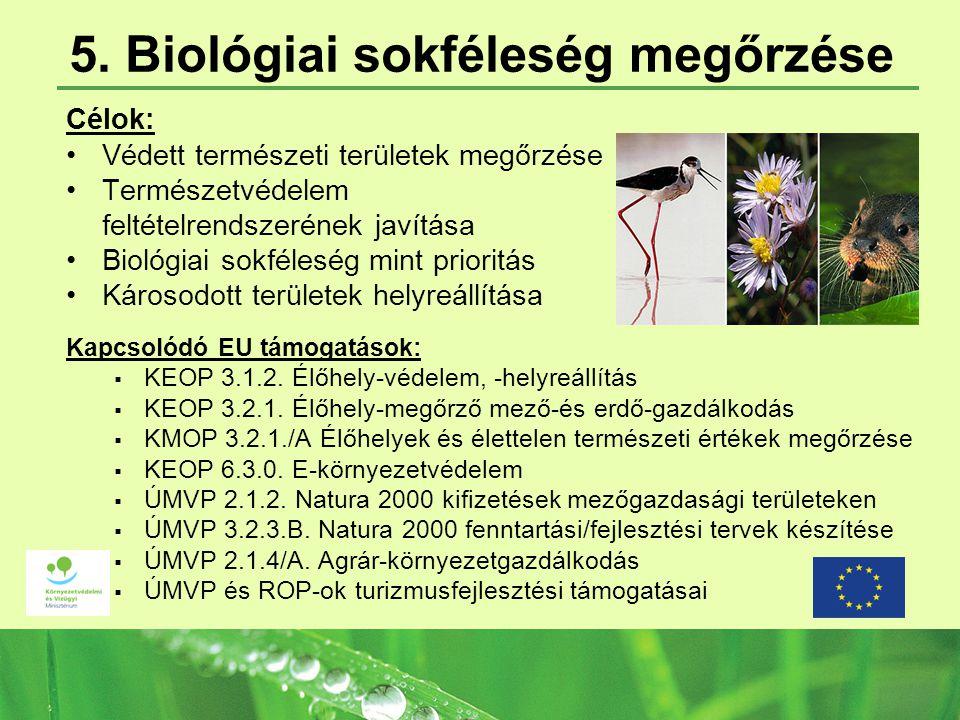 5. Biológiai sokféleség megőrzése Célok: Védett természeti területek megőrzése Természetvédelem feltételrendszerének javítása Biológiai sokféleség min